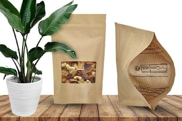 Versions of the eco-friendly stand-up pouch in different compostables, recyclables and biodegradables materials