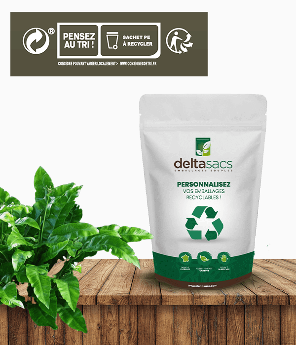 For your packaging, choose recyclable mono-material stand-up pouch by Deltasacs France